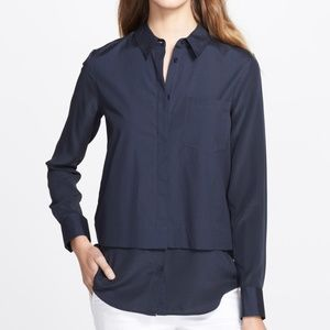 VINCE Mixed Media Button- Up Shirt Navy Blue